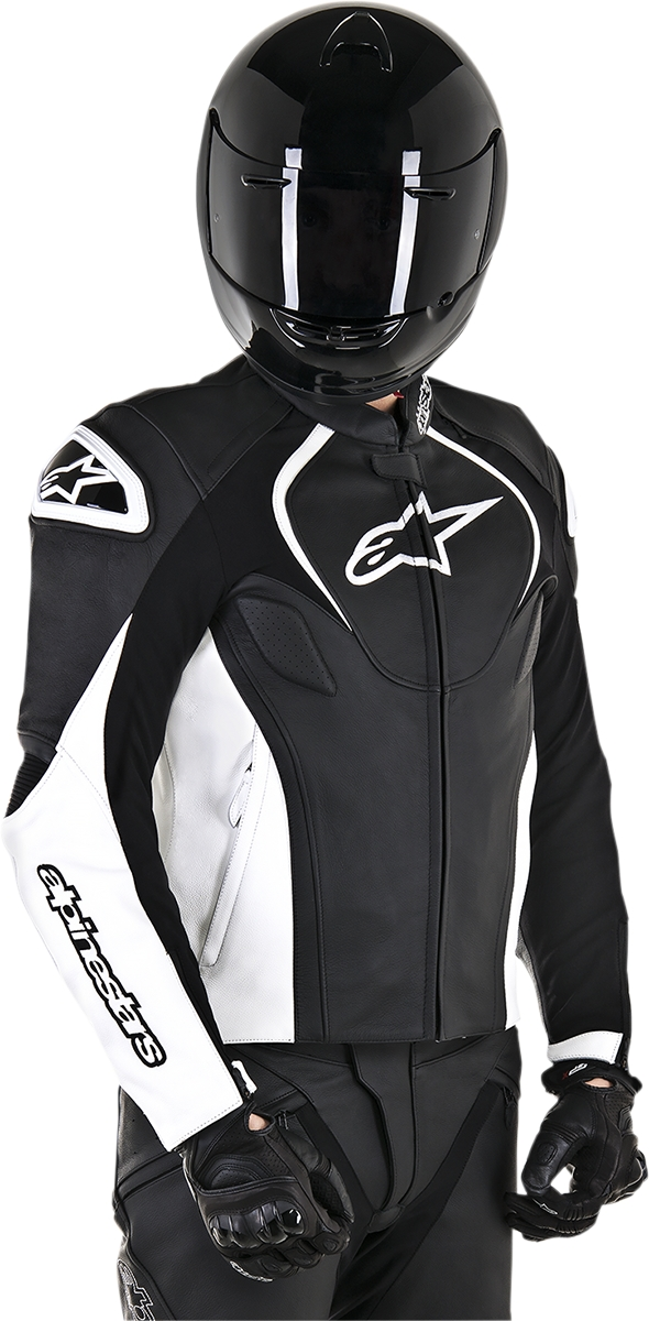 Alpinestars Leather Jacket >> Alpinestars Jaws Leather Jacket Black White Size 46 Ebay
