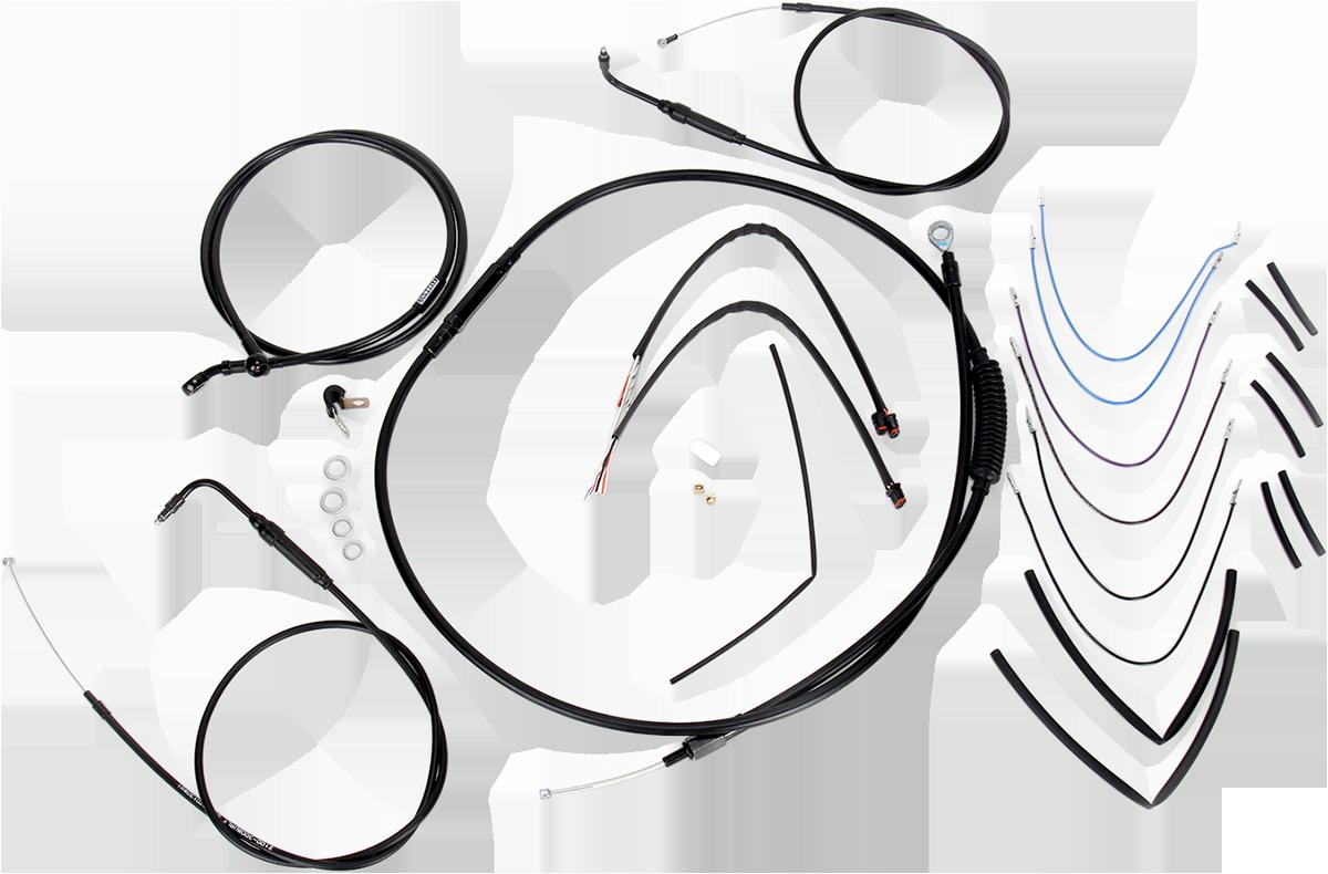 Burly Extended Black Vinyl Cable/Brake Line Kit for