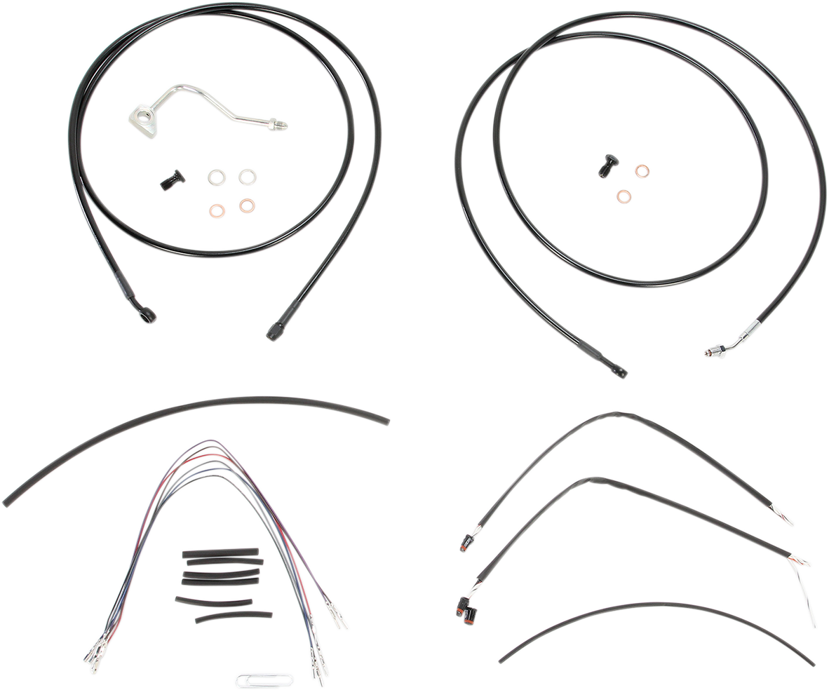 B30-1116 Burly Cable and Brake Line Kits Black 15in. Ape