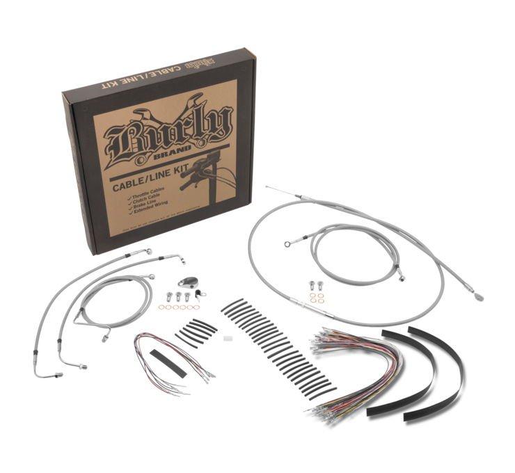 B30-1002 Ape Handlebars~ Burly Brand Extended Cable//Brake Line Kit for 14in