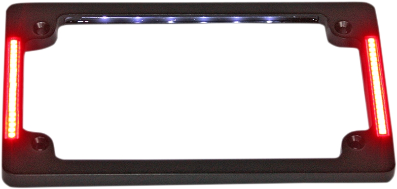 Tri-Horizontal License Plate Frame With Flush-Mount LEDs And LED Plate Light