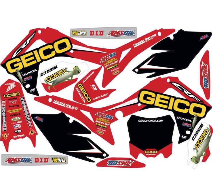 D'Cor 2018 Geico Honda Complete Graphic Kit Honda CRF250R