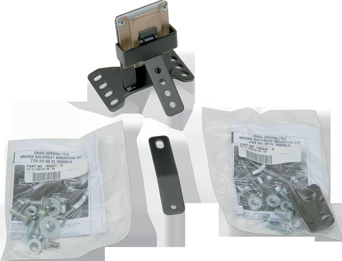Black Drag Specialties Driver Backrest Kit for OEM Dresser//Touring Seat