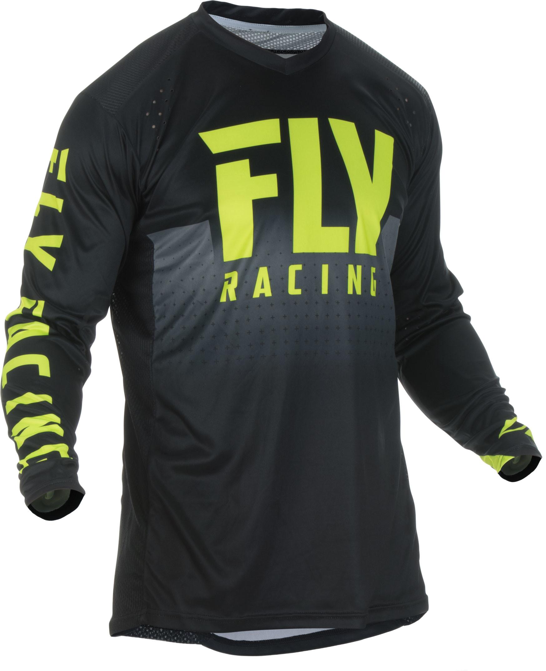 Fly Racing Lite Hydrogen Mens MX Offroad Jersey Black//Hi-Vis