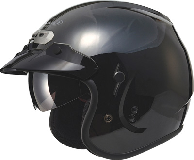 GM 32 Solid Motorcycle Helmet w/Sun Shield