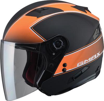 Matte Grey//Orange//X-Large GMAX OF-77 Adult Downey Open-Face Motorcycle Helmet