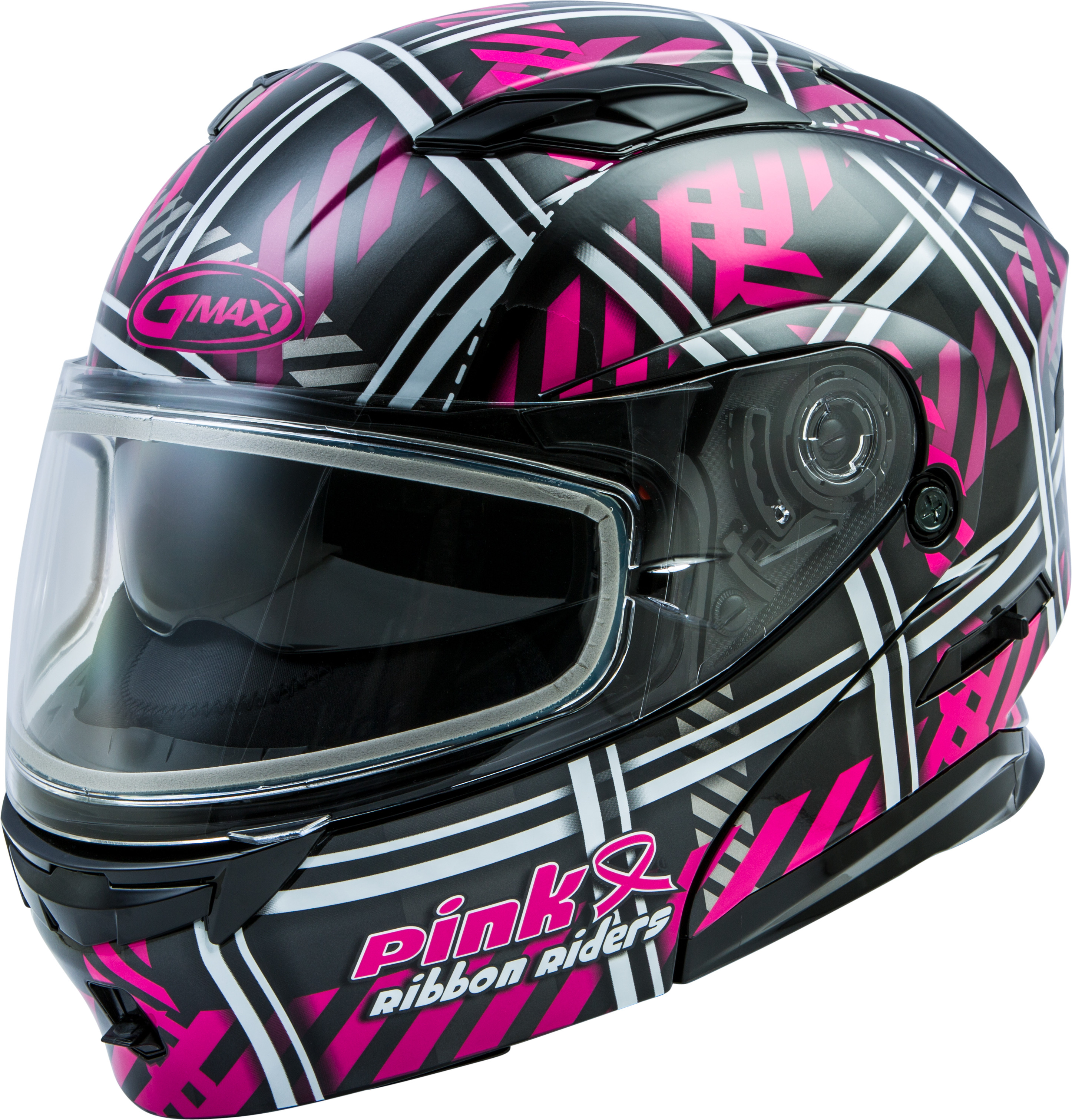 Details about GMAX MD-01S Modular Pink Ribbon Riders Snow Helmet Cold  Weather Snowmobile UTV
