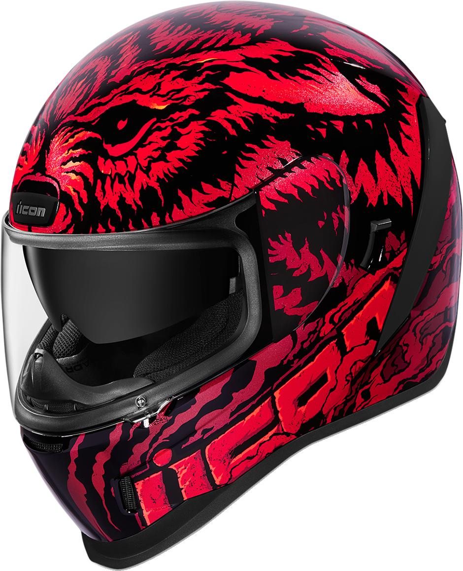 Detalles de Icon Airform Lycan Completo Cara Casco Rojo Negro Lobo