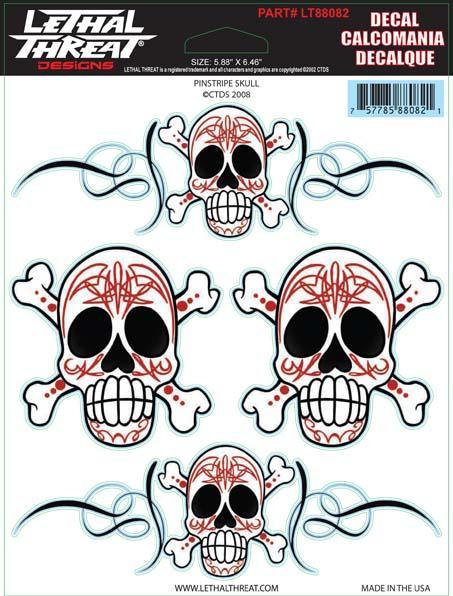 Pinstripe Skull Decal Set