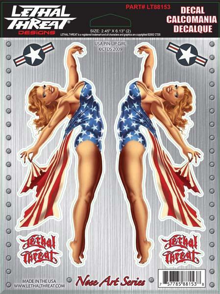 USA Pin Up Girl Decal Set