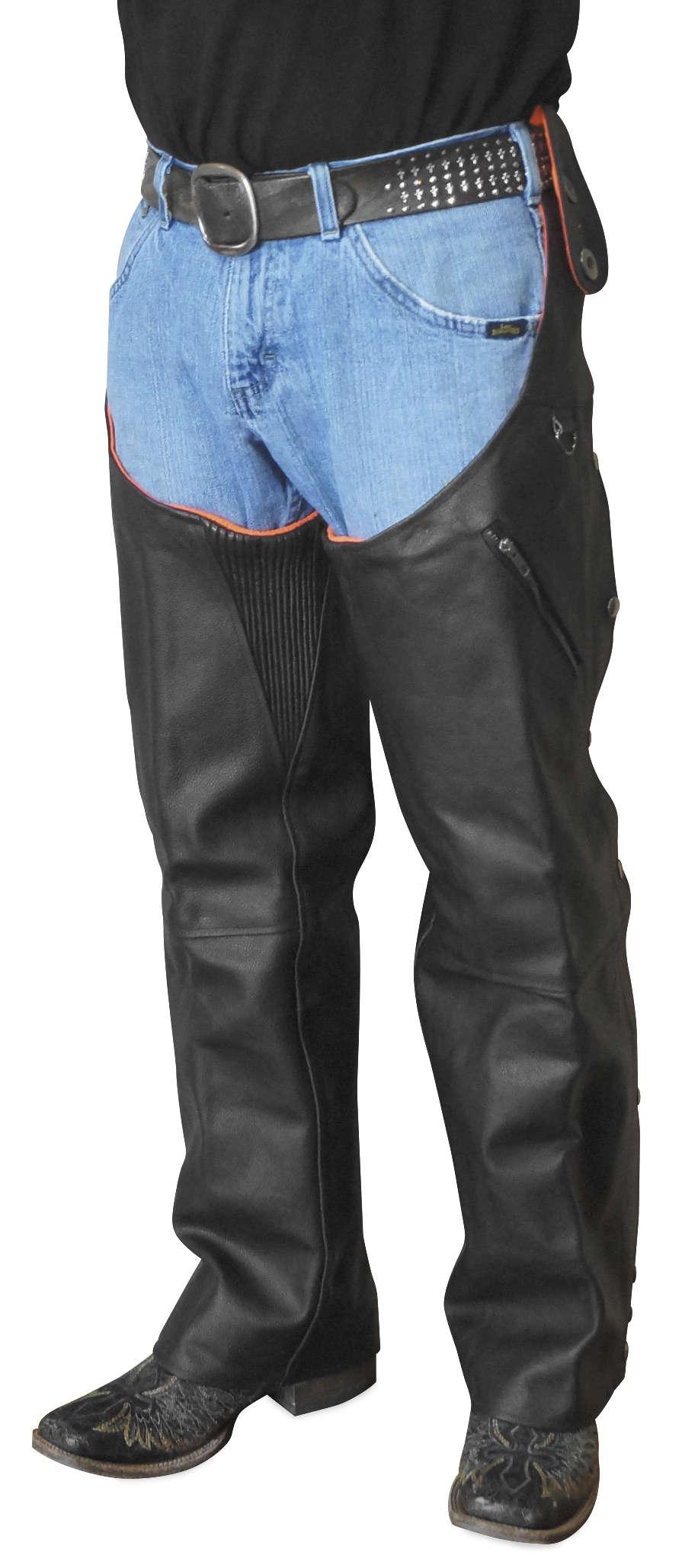 Reversible Leather and Hi-Vis Orange Hook Chaps
