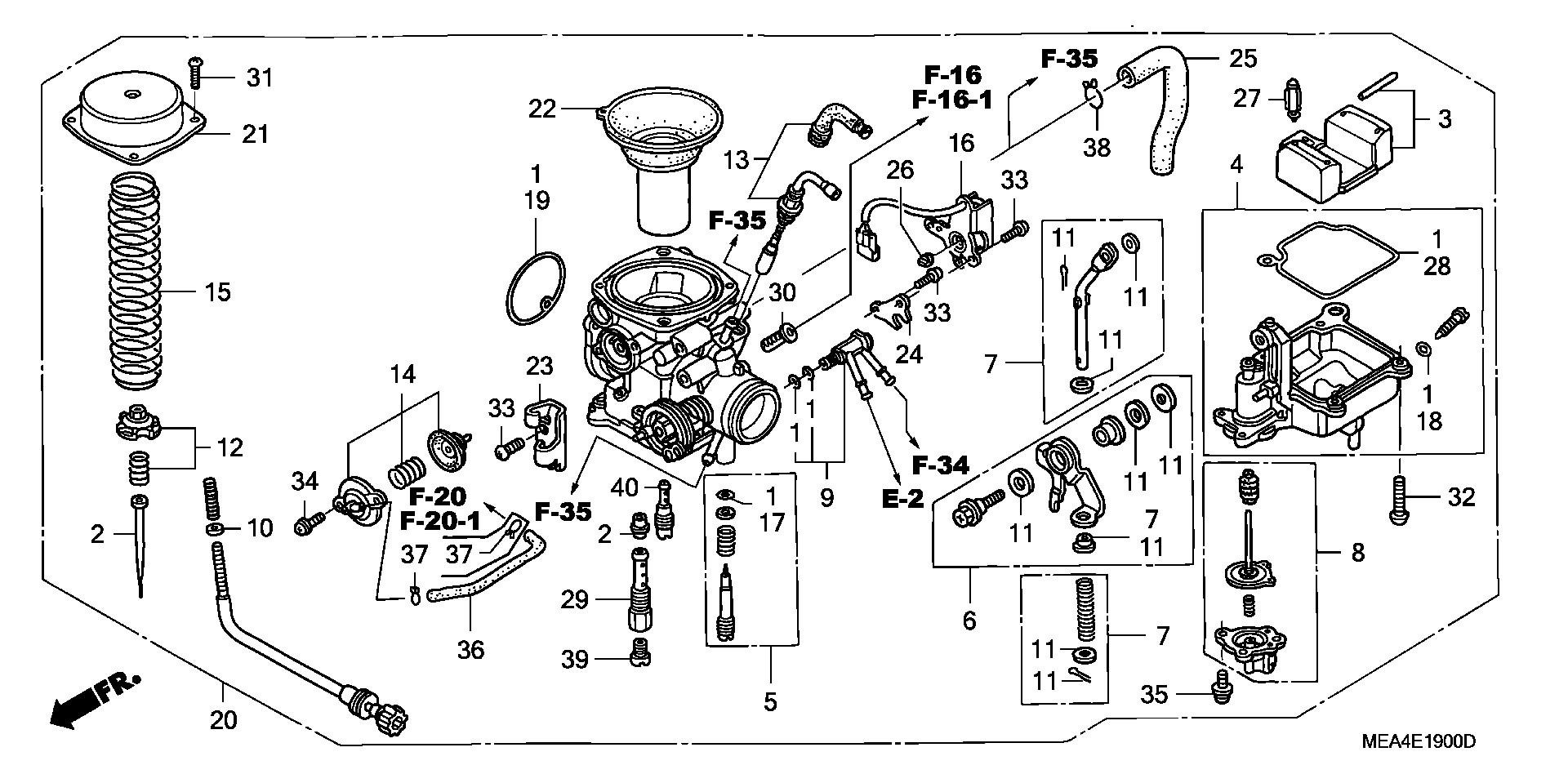 2003-2009 Honda VTX1300 Carburetor Gasket Set 16010-MEA-671 OEM