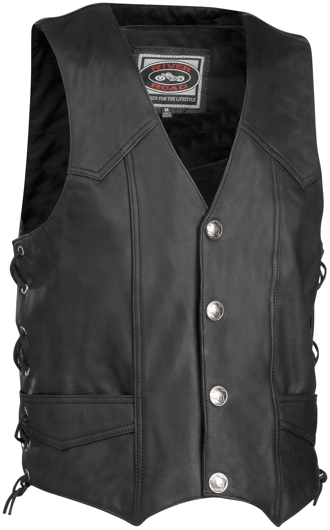 Wyoming Nickel Leather Vest