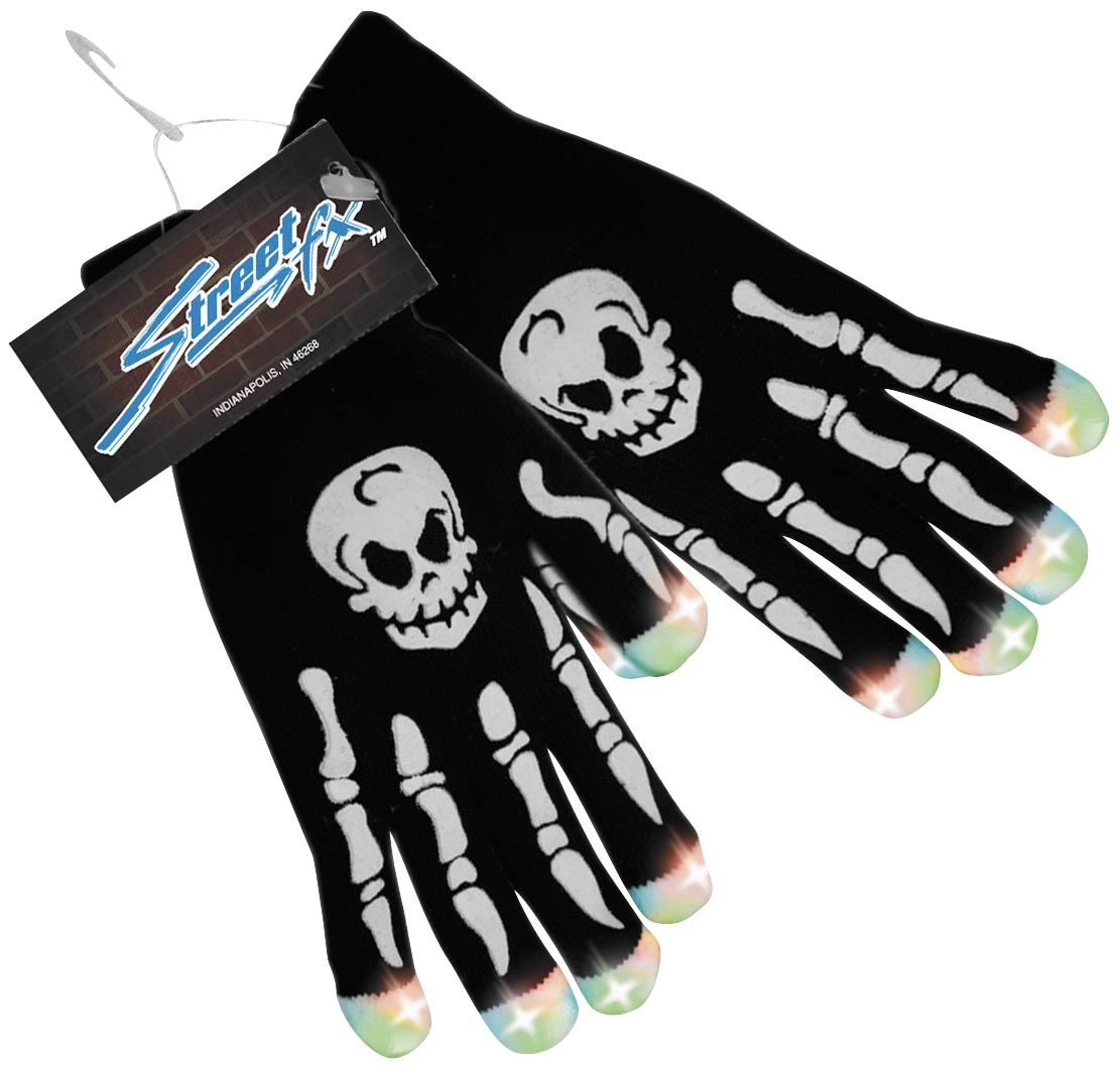 Light Up Skull Gloves