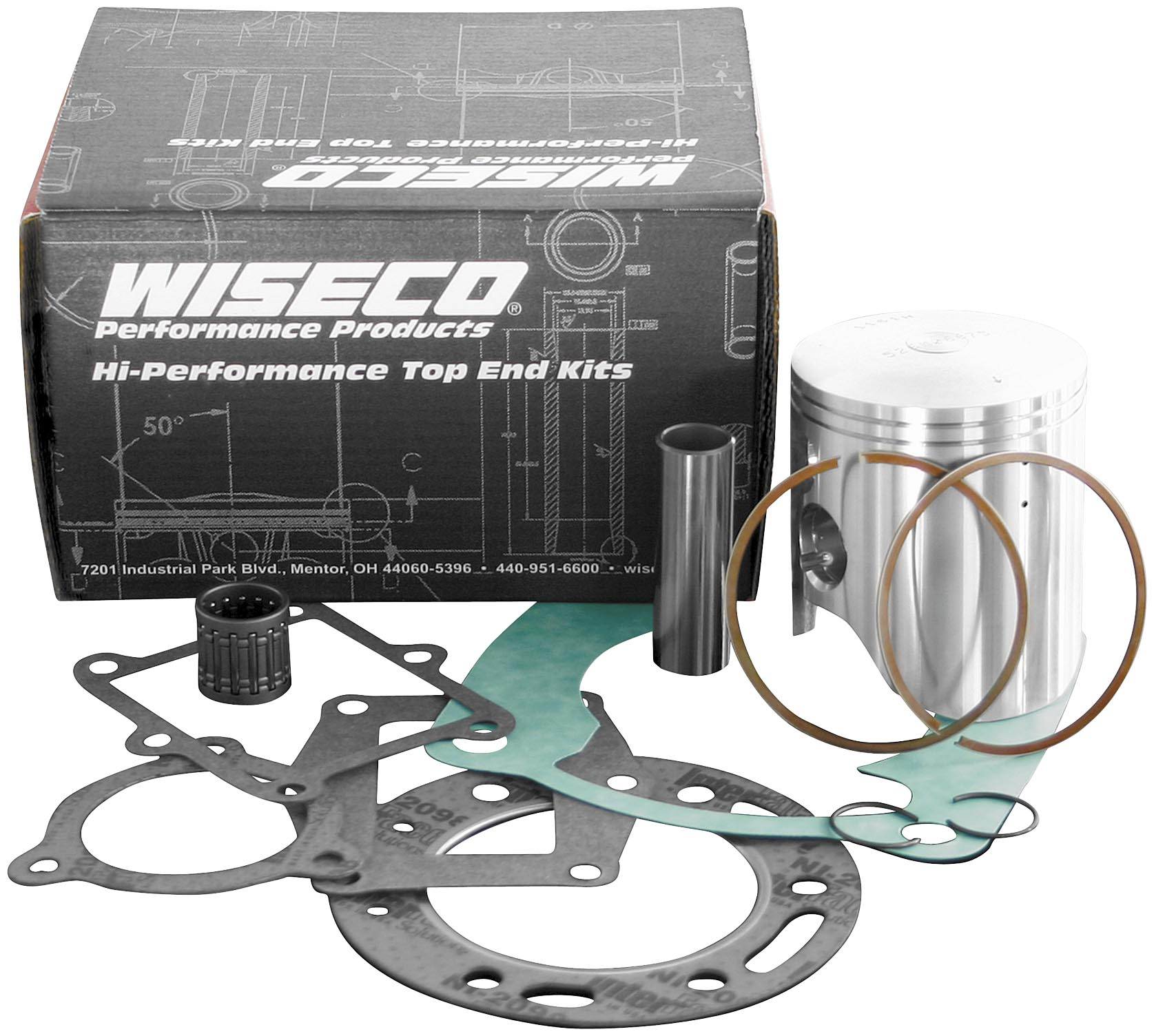 Wiseco PK1350 55.00 mm 2-Stroke Motorcycle Piston Kit with Top-End Gasket Kit